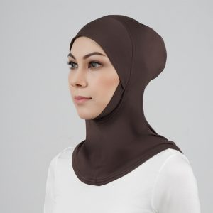 stailoz tudung hijab full dark brown titan tech