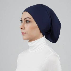 stailoz tudung hijab tube dark blue titan tech