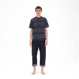 Bush Shirt Zigzag Design Black Turquoise Kapten Batik