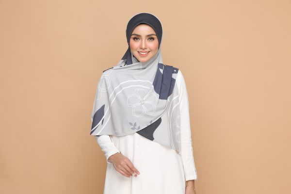 grey gray basic bawal hijab tudung nyzanourexclusive nyzanour exclusive