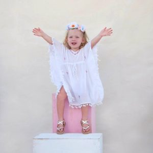 Gorgeous Girl White Pink Kaftan