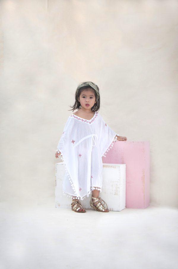 Gorgeous Girl White Pink Kaftan