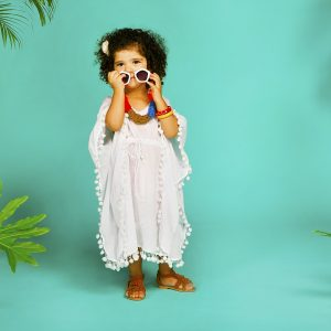 CUTE GIRLS WHITE KAFTAN